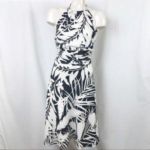 Ann Taylor tropical palm print silk halter